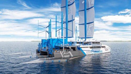 Во Франции разработали катамаран, который очистит океан от пластика