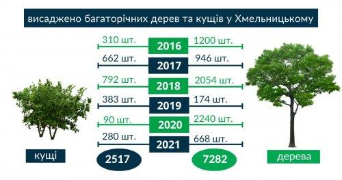 У Хмельницькому за 5 років висадили дерев і кущів утричі більше, ніж зрізали
