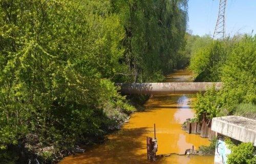 Річка Либідь у Києві стала жовтою. Фотофакт