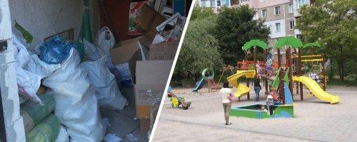 У Черкасах мешканці багатоповерхівки організували сортування сміття у під'їзді. Фото